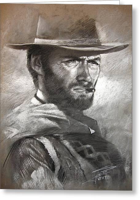Klint Eastwood Greeting Card by Ylli Haruni