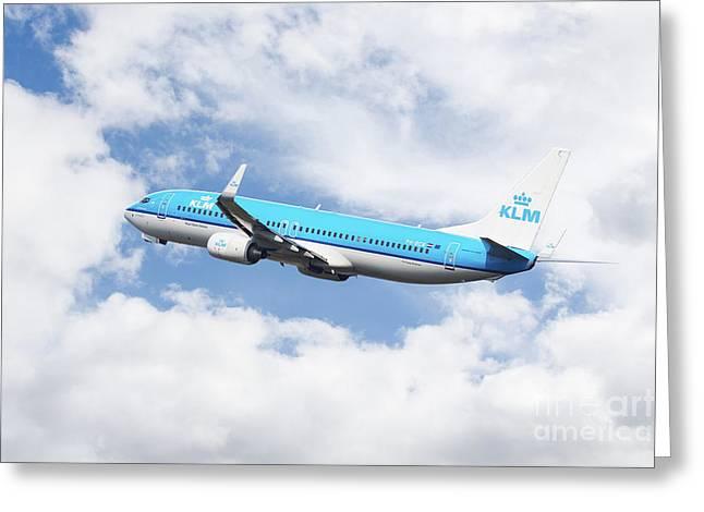 Klm Boeing 737-8k2 Greeting Card