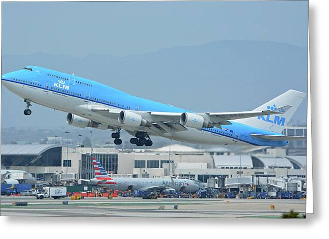 Greeting Card featuring the photograph Klm Boeing 747-406m Ph-bfh Los Angeles International Airport May 3 2016 by Brian Lockett