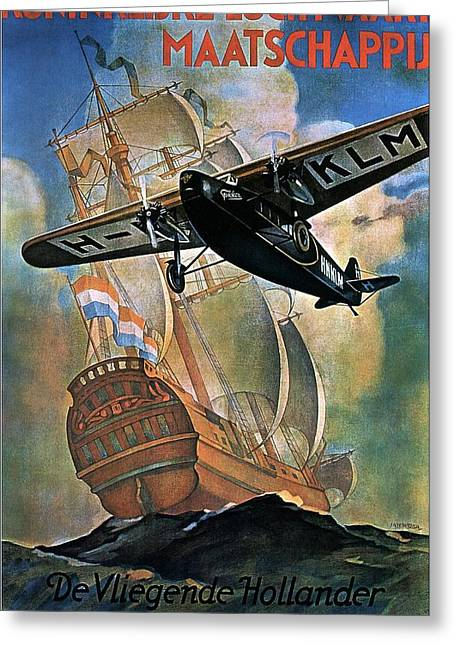 Klm - Royal Dutch Airlines Aircraft Flying Over A Sailing Ship - Vintage Advertising Poster Greeting Card