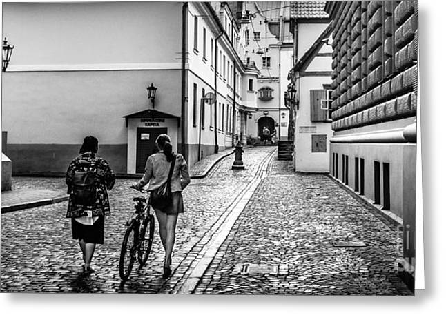 Klostera Street In Old Riga Greeting Card by RicardMN Photography