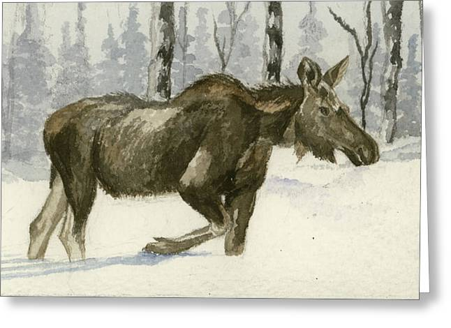 Knee Deep In Snow Greeting Card by Tracey Hunnewell