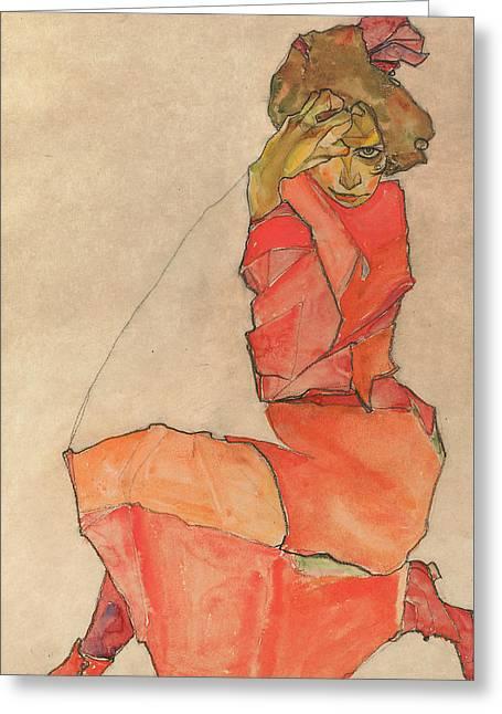 Kneeling Female In Orange-red Dress Greeting Card by Egon Schiele