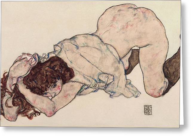 Kneeling Girl, Resting On Both Elbows Greeting Card by Egon Schiele