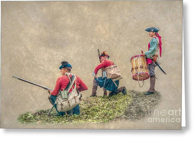 Kneeling Soldiers And Drummer Greeting Card