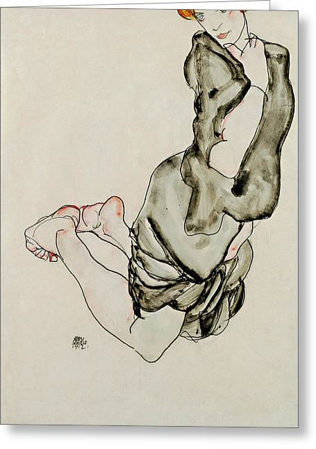Kneeling Woman With A Gray Cape Wally Neuzil 1912 Greeting Card by Egon Schiele