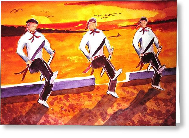Knife Dancers Greeting Card by Buster Dight