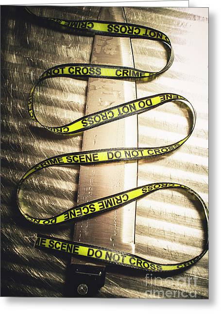 Knife With Crime Scene Ribbon On Metal Surface Greeting Card
