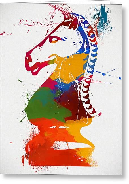 Knight Chess Piece Paint Splatter Greeting Card by Dan Sproul