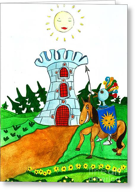 Brave Knight-errant And His Funny Wise Horse Greeting Card