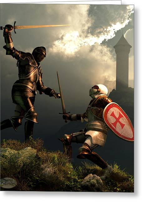 Knight Fight Greeting Card