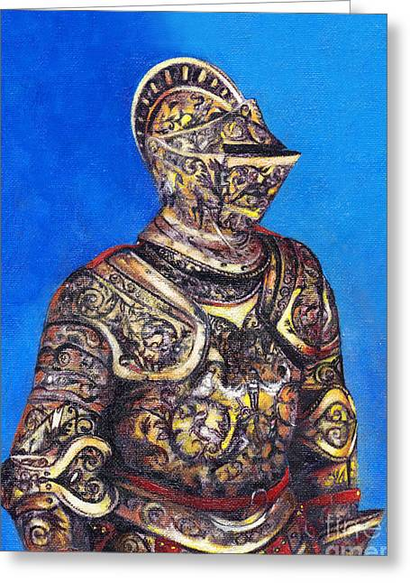 Knight In Detailed Armor Greeting Card by Deanna Yildiz