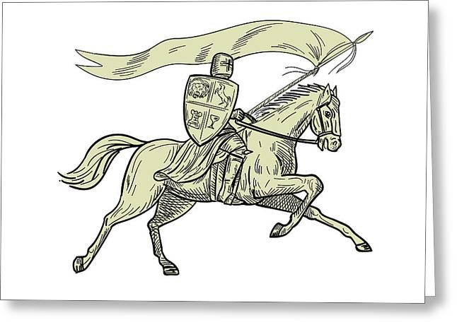 Knight Riding Horse Shield Lance Flag Drawing Greeting Card
