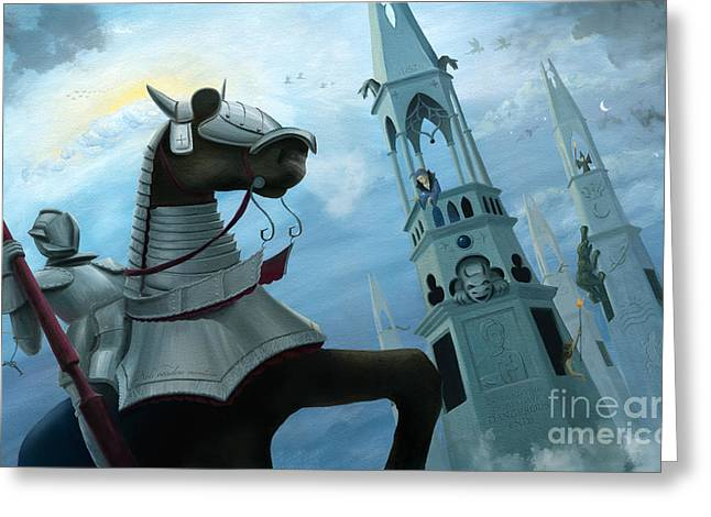 Knight Time Greeting Card by Denise M Cassano