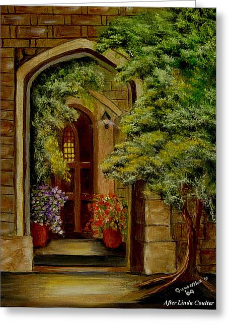 Greeting Card featuring the painting Knight's Door by Quwatha Valentine
