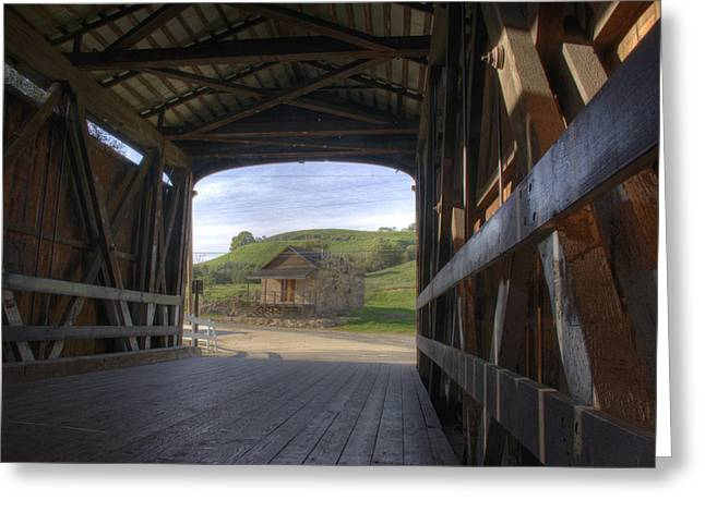 Knights Ferry Covered Bridge Greeting Card by Jim and Emily Bush