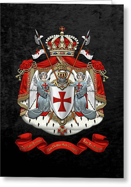 Knights Templar - Coat Of Arms Over Black Velvet Greeting Card by Serge Averbukh