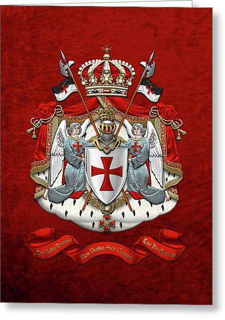 Knights Templar - Coat Of Arms Over Red Velvet Greeting Card