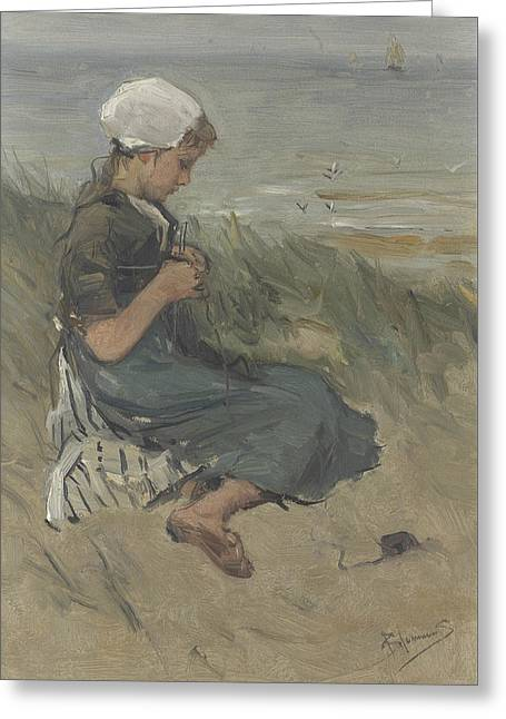 Knitting Girl On A Dune Greeting Card