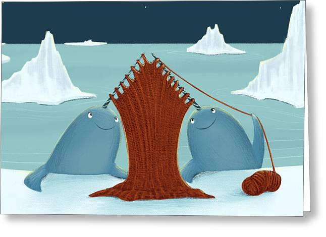 Knitting Narwhals Greeting Card