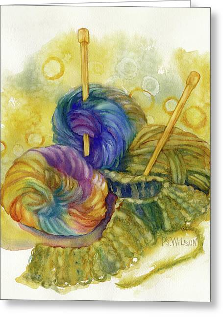 Needle Paintings Greeting Cards - Knitting Greeting Card by Peggy Wilson