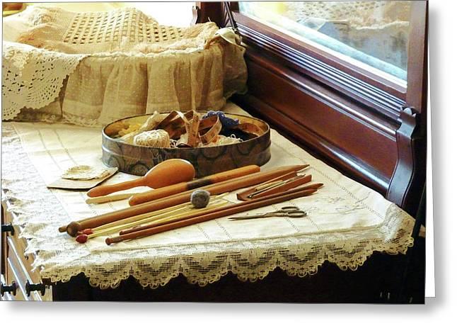 Knitting Supplies Greeting Card by Susan Savad