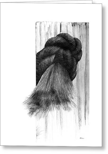 Greeting Card featuring the drawing Knot by Brent Ander
