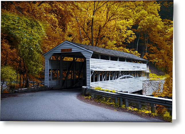 Knox Covered Bridge At Valley Forge In Autumn Greeting Card by Bill Cannon
