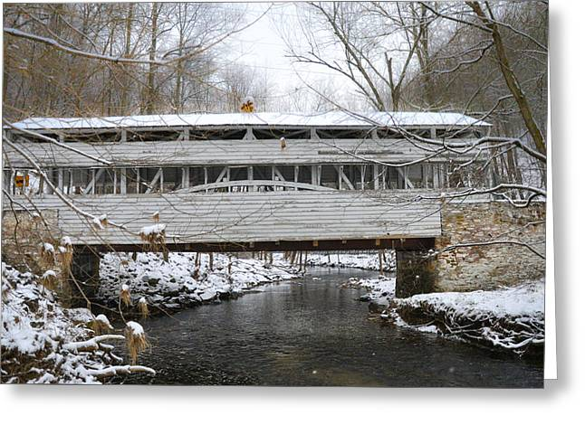 Knox Covered Bridge In The Snow Greeting Card