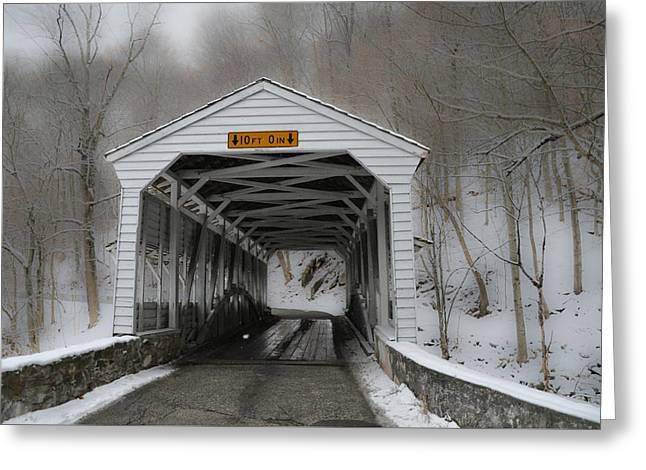 Knox Covered Bridge - Valley Forge Pa In The Snow Greeting Card