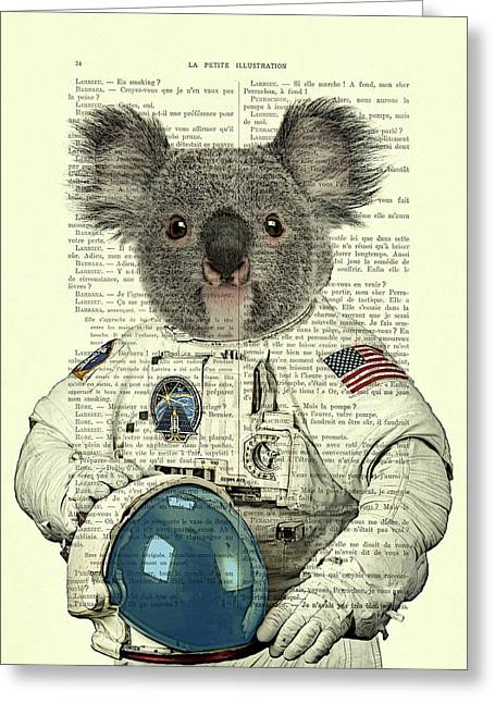 Koala In Space Illustration Greeting Card by Madame Memento