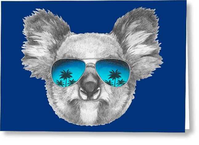 Koala With Mirror Sunglasses Greeting Card by Marco Sousa