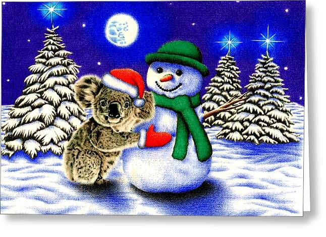 Koala With Snowman Greeting Card