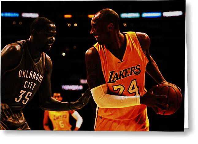 Kobe And Durant Greeting Card by Brian Reaves
