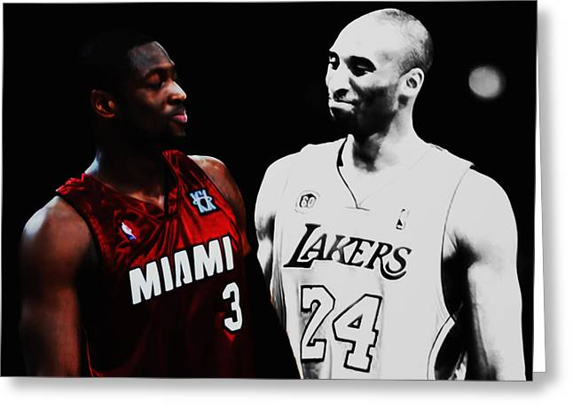Two Masters Of The Game Kobe Bryant And Dwyane Wade Greeting Card by Brian Reaves