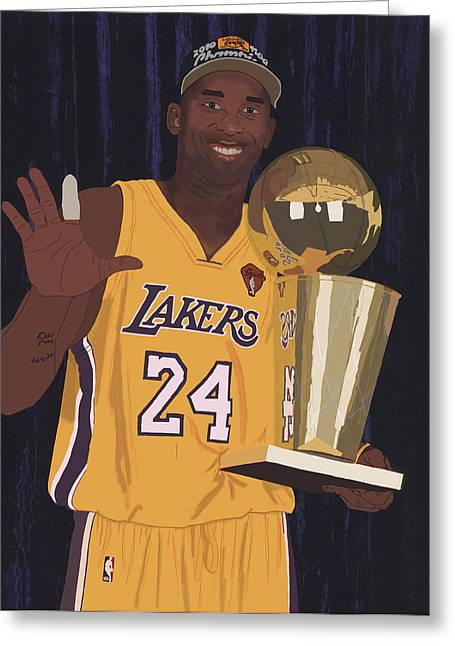 Los Angeles Lakers Greeting Cards - Kobe Bryant Five Championships Greeting Card by Tomas Raul Calvo Sanchez