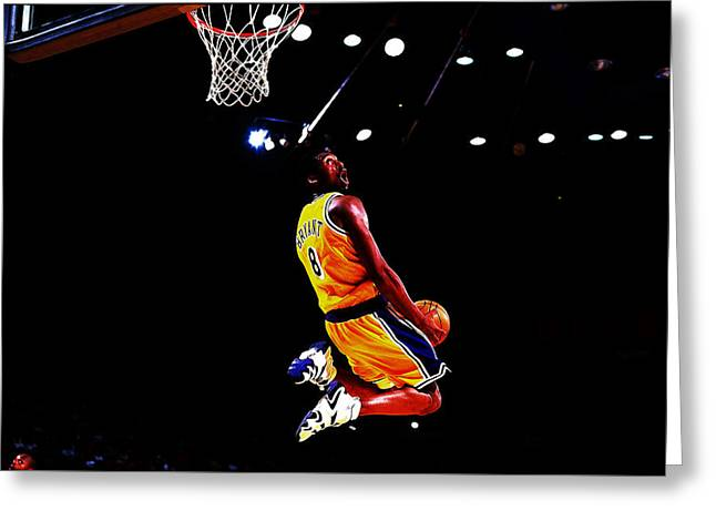 Kobe Bryant In Flight 08a Greeting Card by Brian Reaves