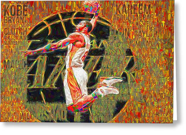 Kobe Bryant La Lakers Digital Painting 4 Greeting Card by David Haskett