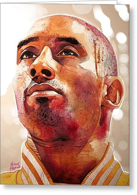 Kobe Bryant Lakers Final Game Gold Edition Greeting Card by Michael Pattison