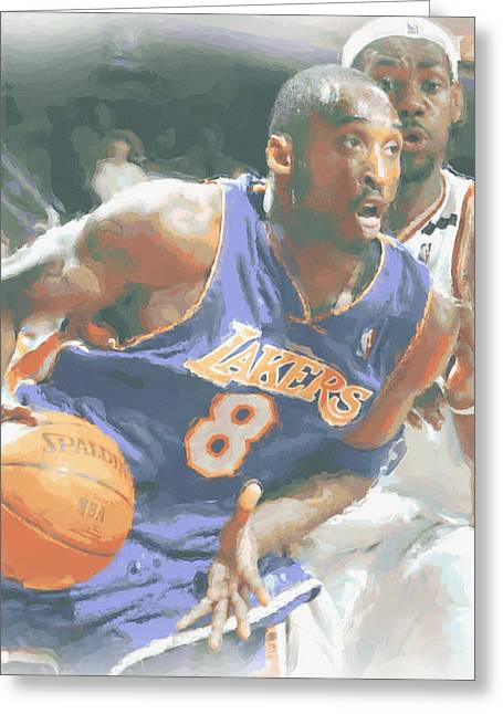 Kobe Bryant Lebron James Greeting Card by Joe Hamilton