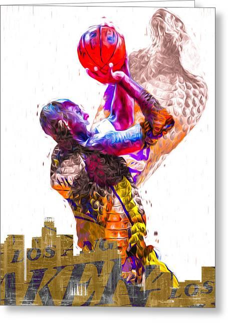 Kobe Bryant Los Angeles Lakers Digital Painting Snake 1 Greeting Card