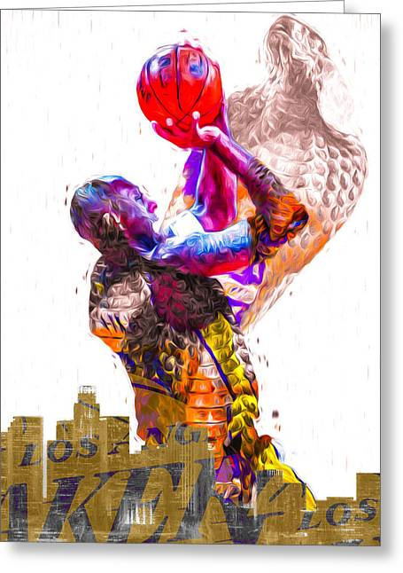 Kobe Bryant Los Angeles Lakers Digital Painting Snake 1 Greeting Card by David Haskett