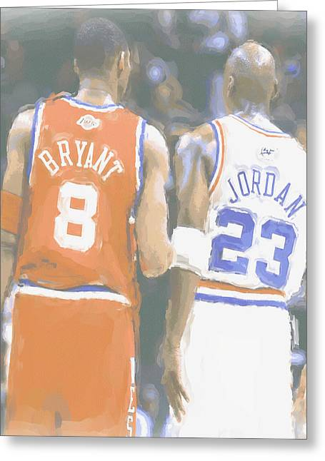 Kobe Bryant Michael Jordan 2 Greeting Card by Joe Hamilton