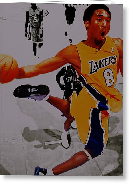 Kobe Bryant Taking Flight 3a Greeting Card by Brian Reaves