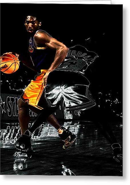 Kobe Spin Move On Jordan Greeting Card by Brian Reaves