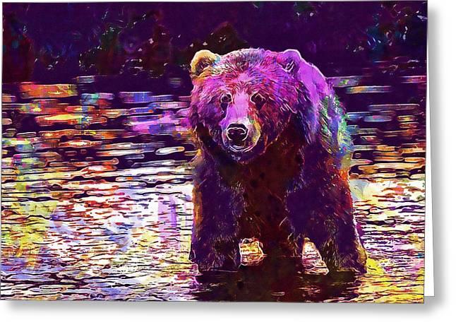 Kodiak Brown Bear Adult Portrait  Greeting Card