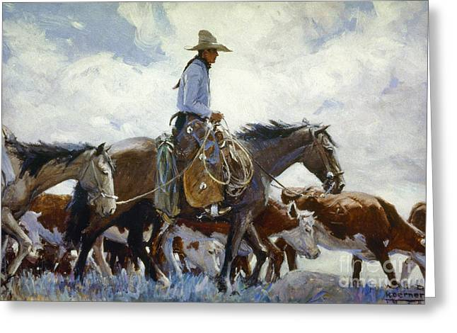 Stray Greeting Cards - Koerner: Cowboy, 1920 Greeting Card by Granger