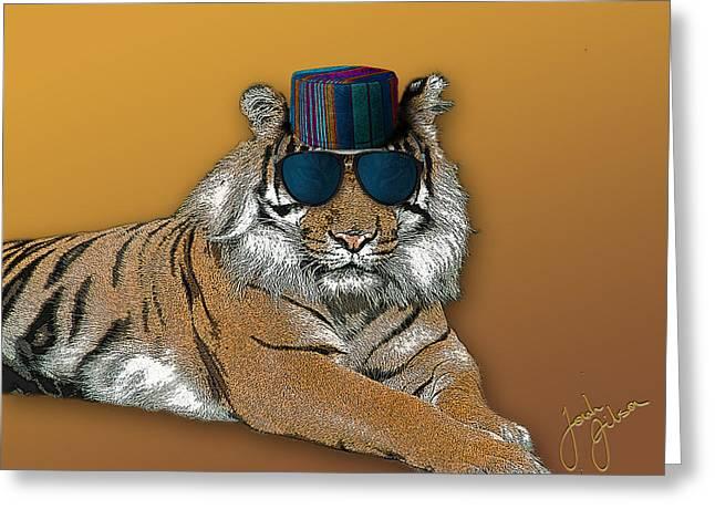 Kofia Tiger With Shades Greeting Card