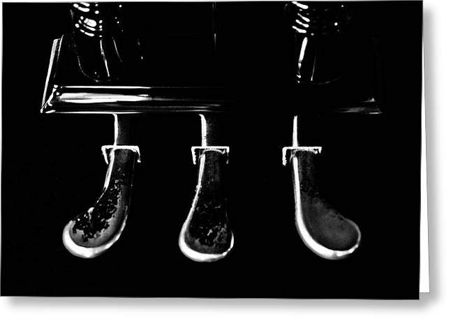 Kohler And Cambell Pedals Black And White Greeting Card by Sam Hymas