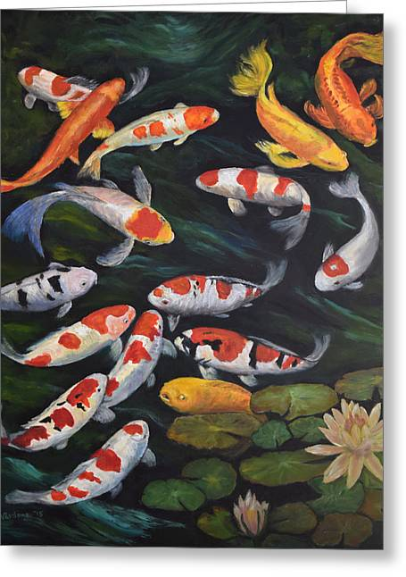 Greeting Card featuring the painting Koi Among The Lily Pads II by Sandra Nardone